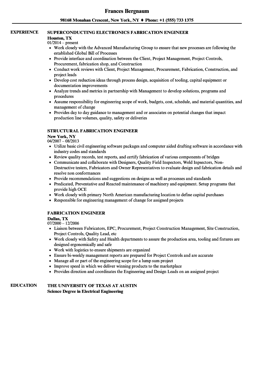 Fabrication Engineer Resume Samples Velvet Jobs