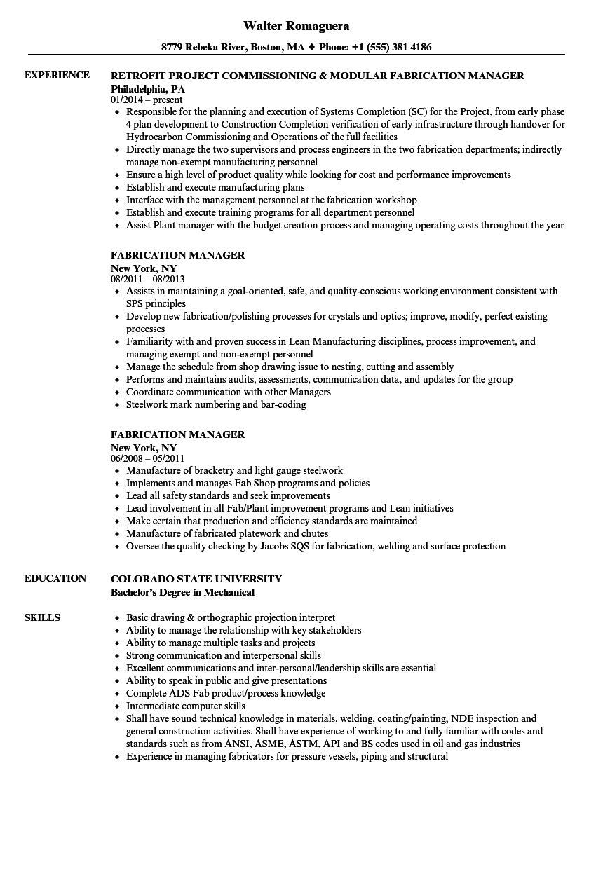 Fabrication Manager Resume Samples | Velvet Jobs