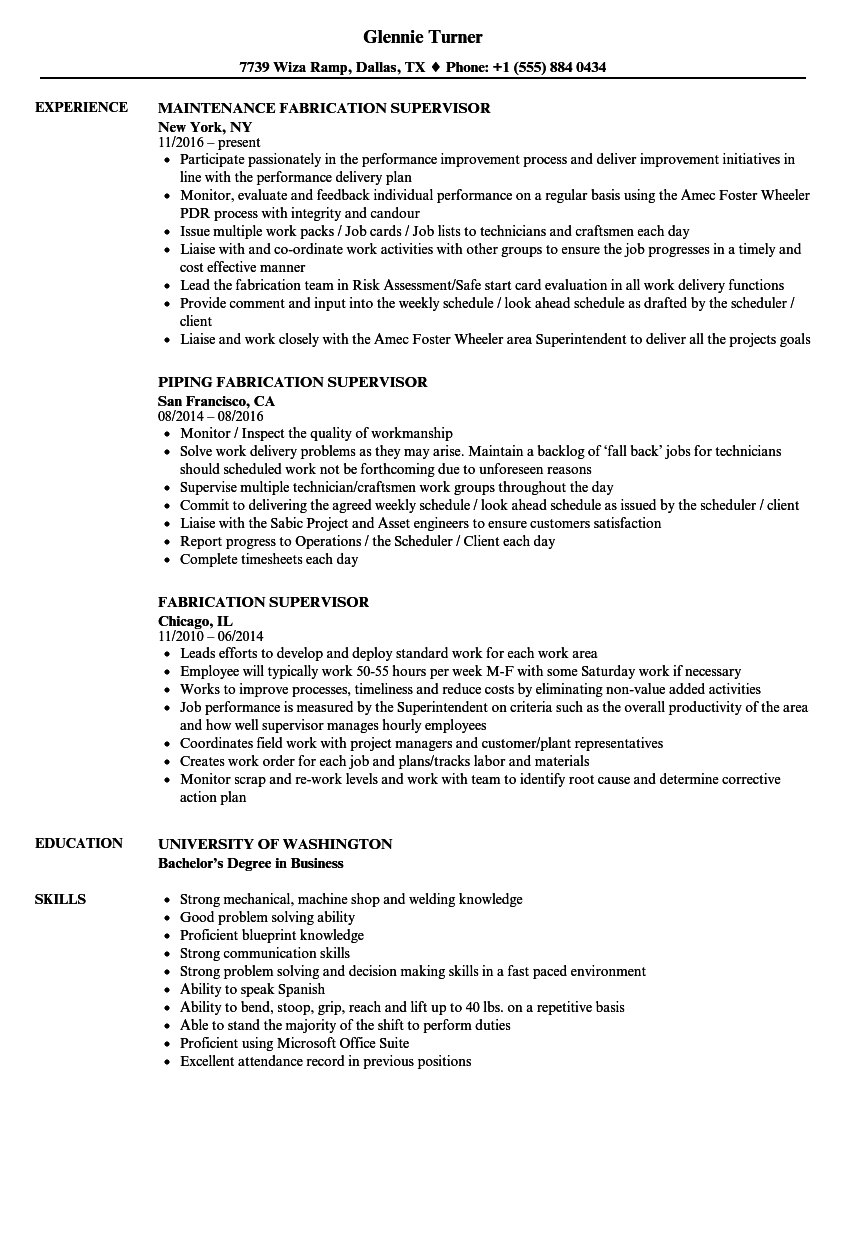 Fabrication Supervisor Resume Samples | Velvet Jobs