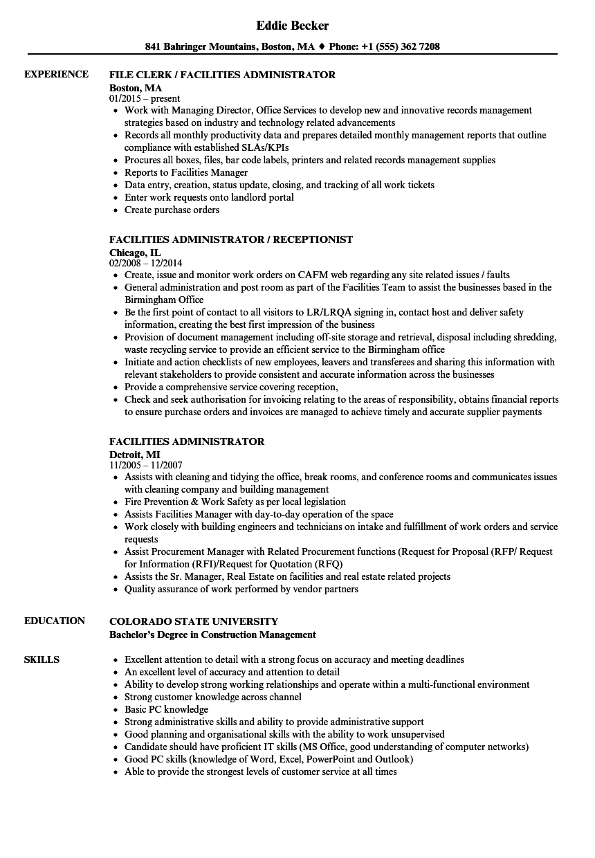 download facilities administrator resume sample as image file