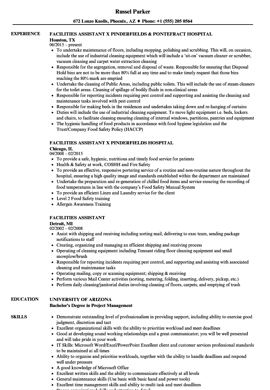 facilities assistant resume samples