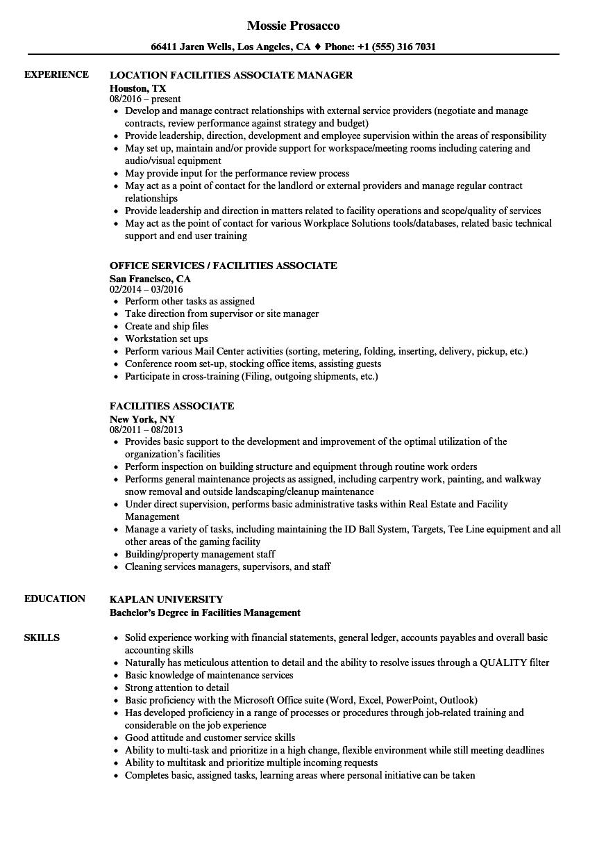 facilities associate resume samples velvet jobs