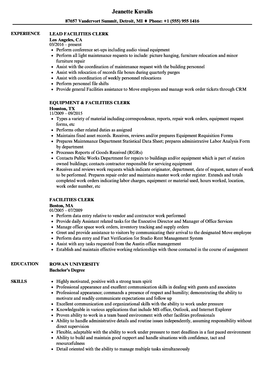 Facilities Clerk Resume Samples | Velvet Jobs