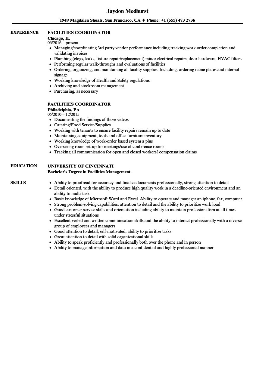 facilities coordinator resume samples