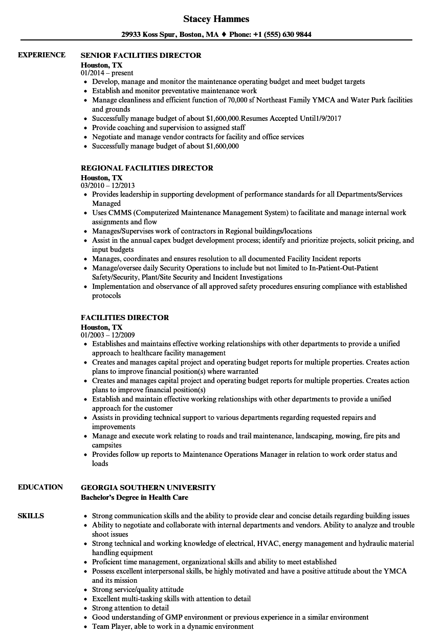 Facilities Director Resume Samples | Velvet Jobs