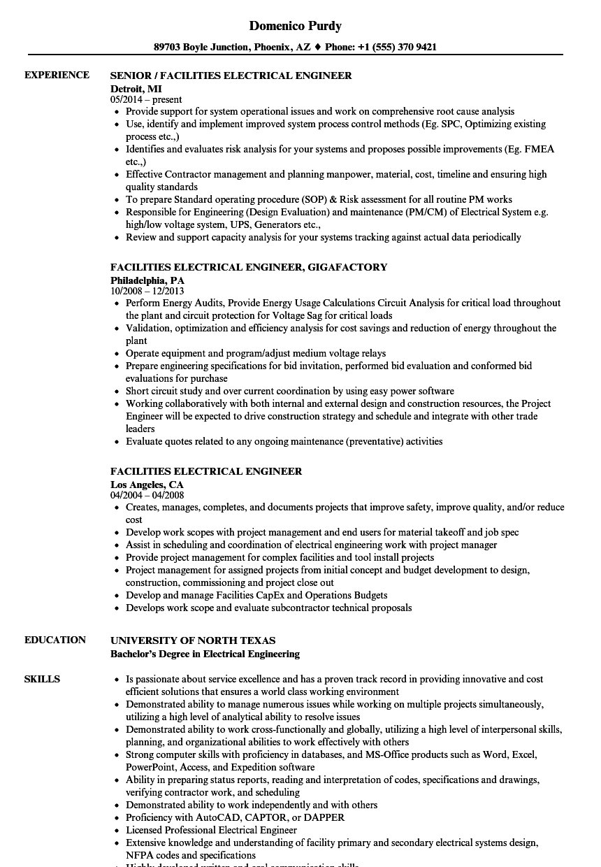 Facilities Electrical Engineer Resume Samples Velvet Jobs