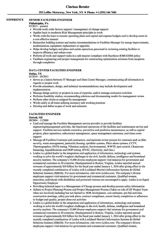 Facilities Engineer Resume Samples | Velvet Jobs