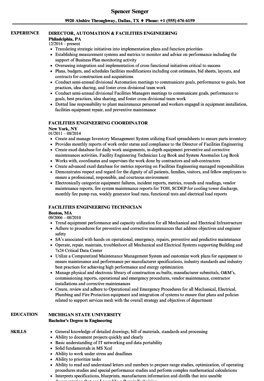 facilities engineering resume samples