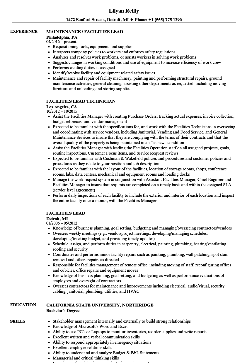 Facilities Lead Resume Samples Velvet Jobs