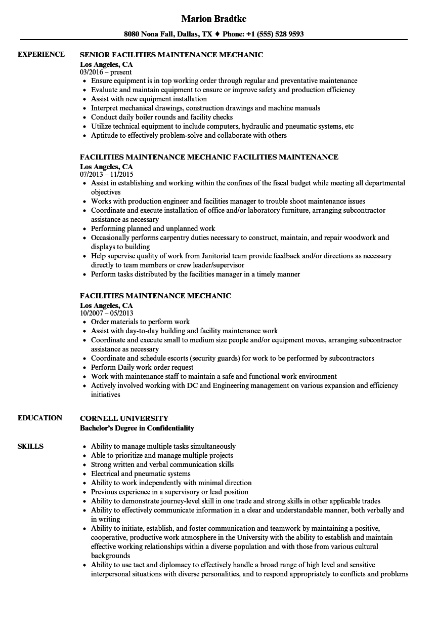 Facilities Maintenance Mechanic Resume Samples | Velvet Jobs