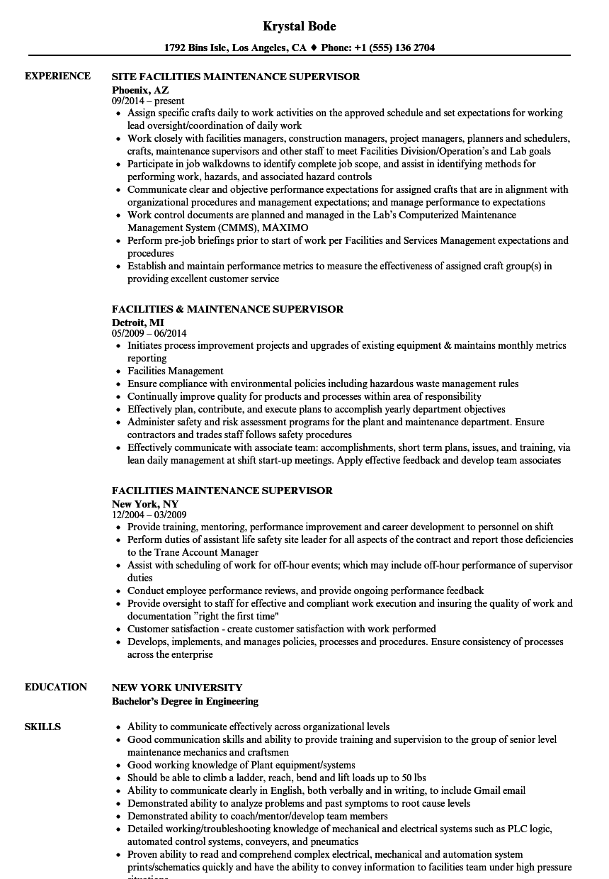 Facilities Maintenance Supervisor Resume Samples | Velvet Jobs