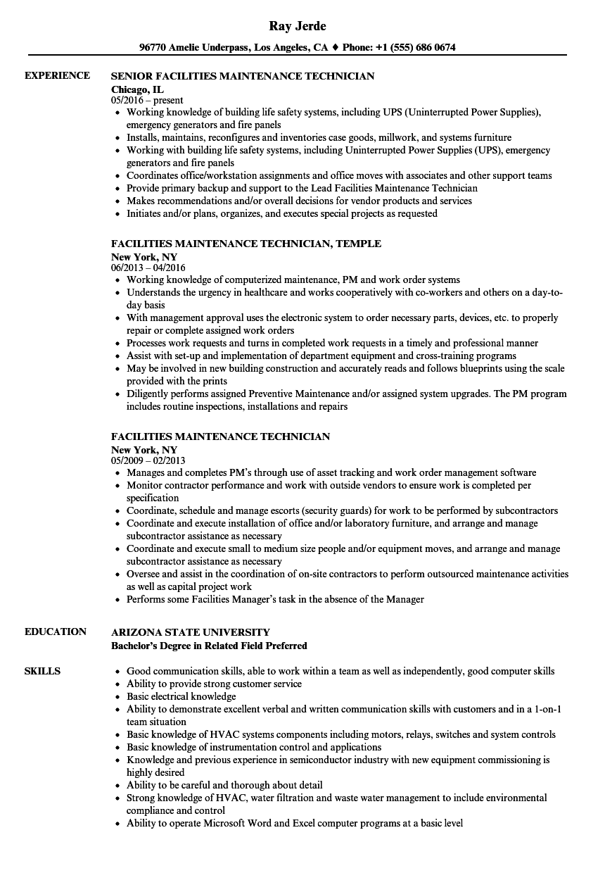 Download Facilities Maintenance Technician Resume Sample As Image File