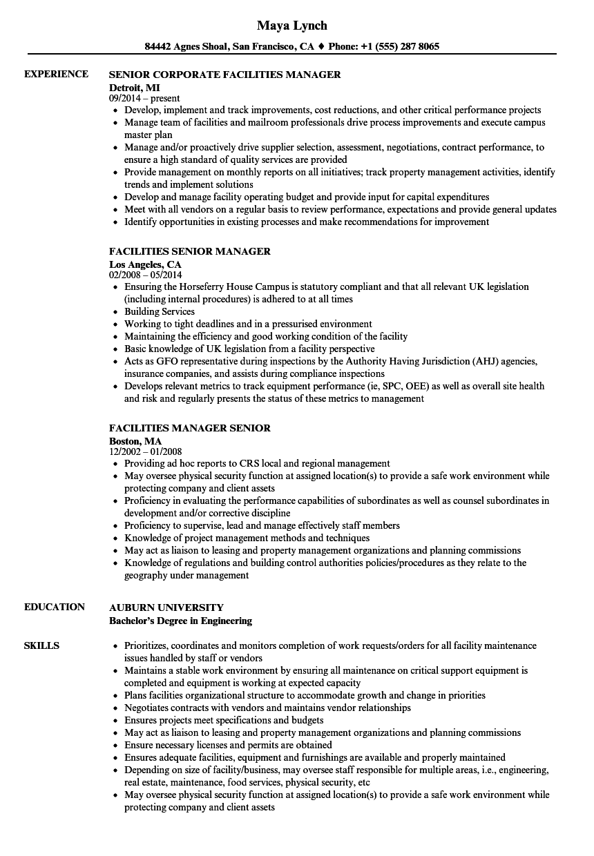 facilities manager senior resume samples