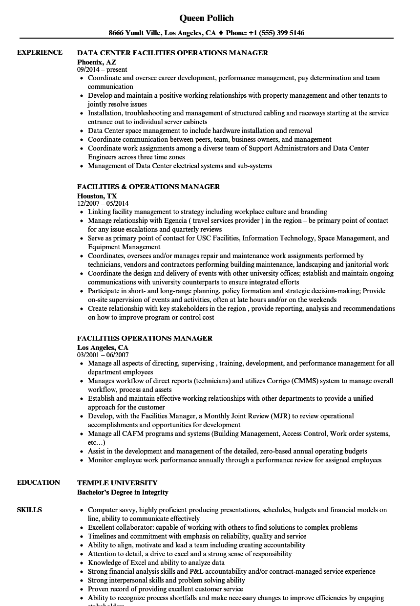 Facilities Operations Manager Resume Samples | Velvet Jobs