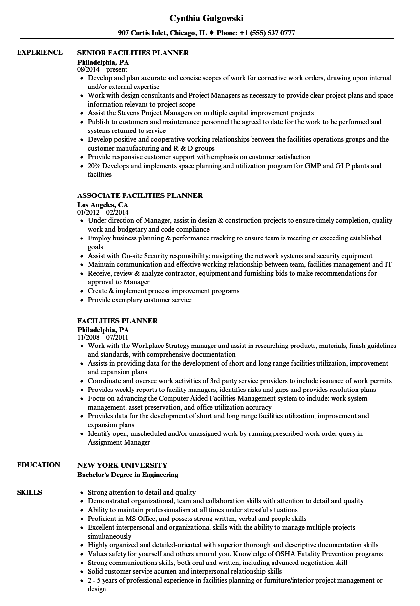 facilities planner resume samples