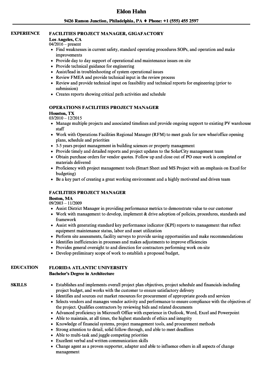 Facilities Project Manager Resume Samples Velvet Jobs