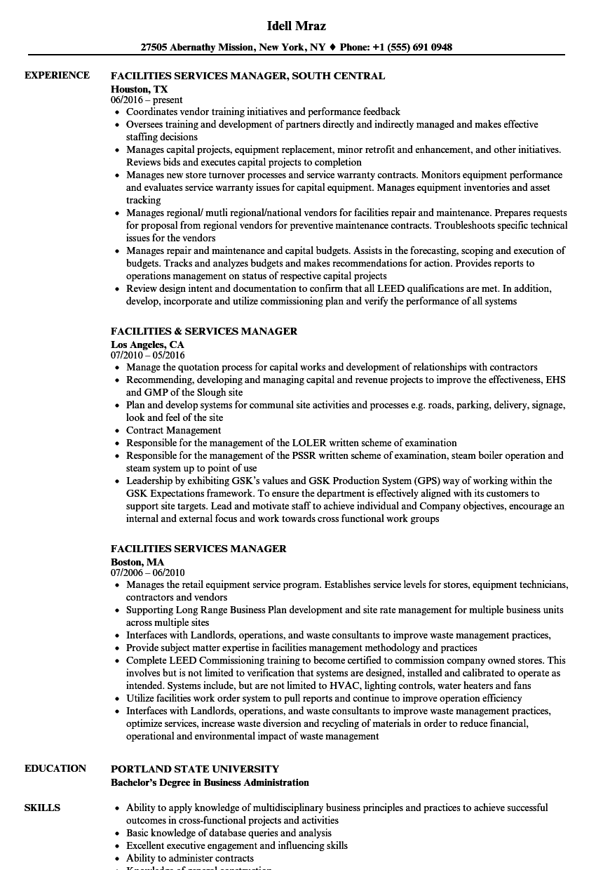 facilities services manager resume samples