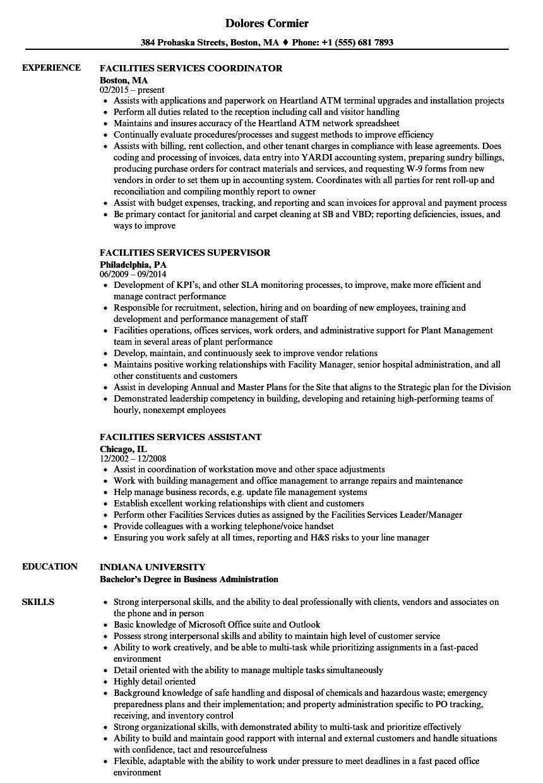 Facilities & Services Resume Samples | Velvet Jobs