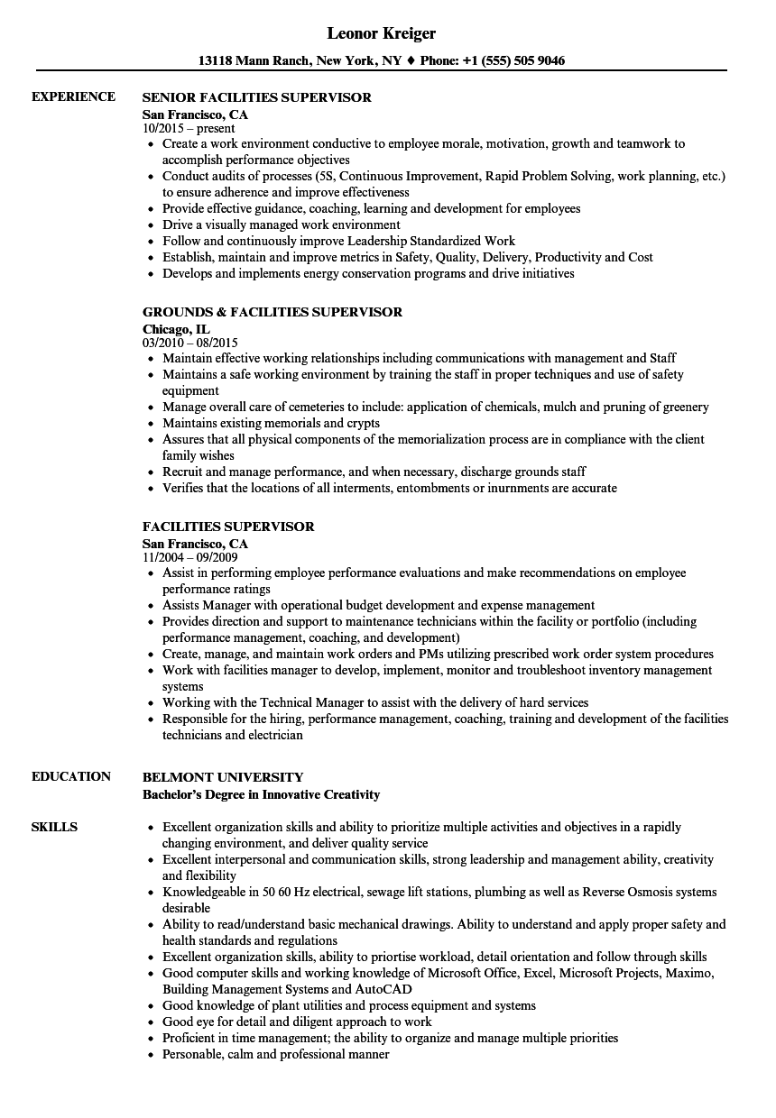 Facilities Supervisor Resume Samples | Velvet Jobs