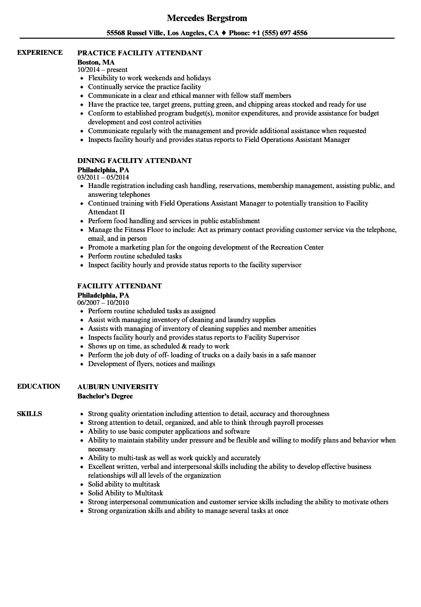 facility attendant resume samples