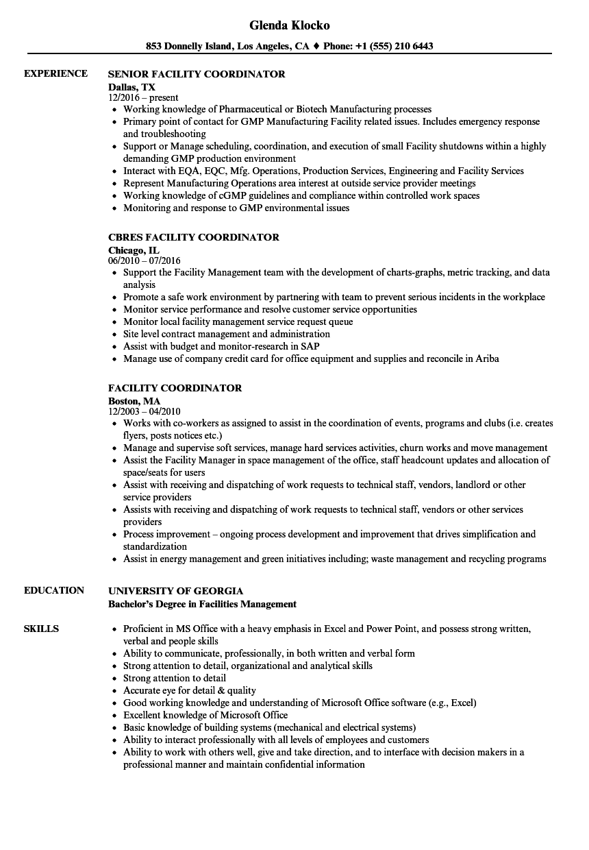 Facility Coordinator Resume Samples | Velvet Jobs