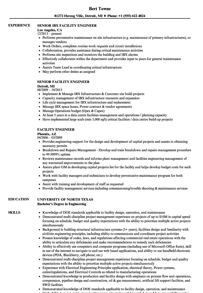 Facility Engineer Resume Samples | Velvet Jobs