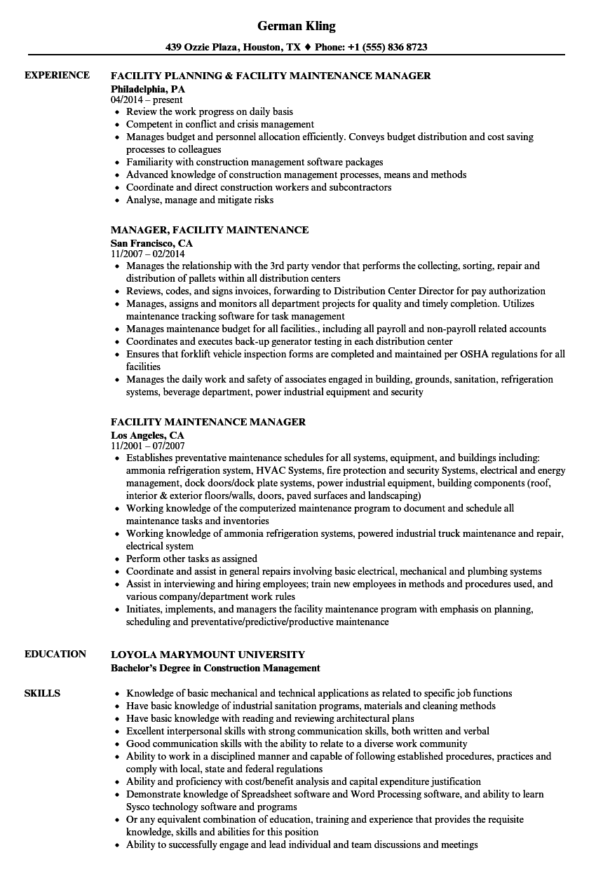 Download Facility Maintenance Manager Resume Sample As Image File  Facility Maintenance Resume