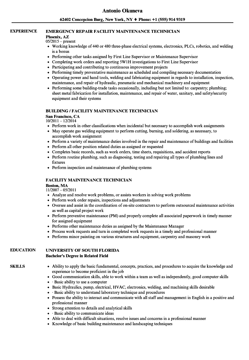 Facility Maintenance Technician Resume Samples | Velvet Jobs