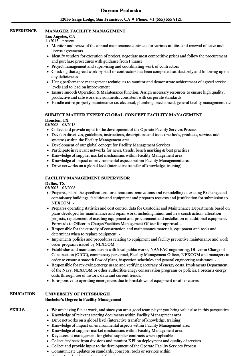 Facility Management Resume Samples | Velvet Jobs
