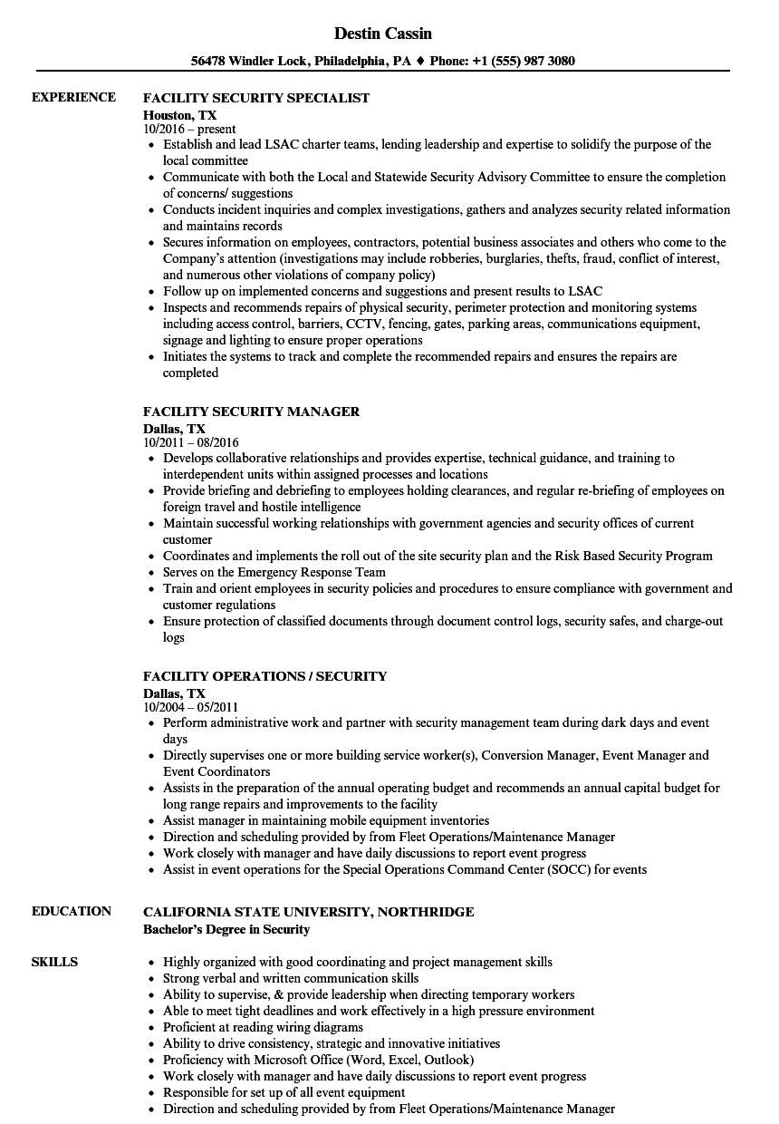 facility security resume samples