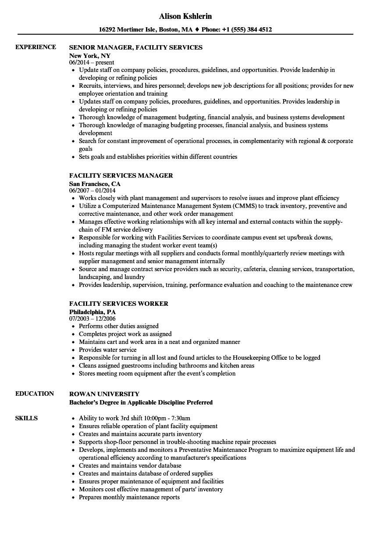 Facility Services Resume Samples   Velvet Jobs