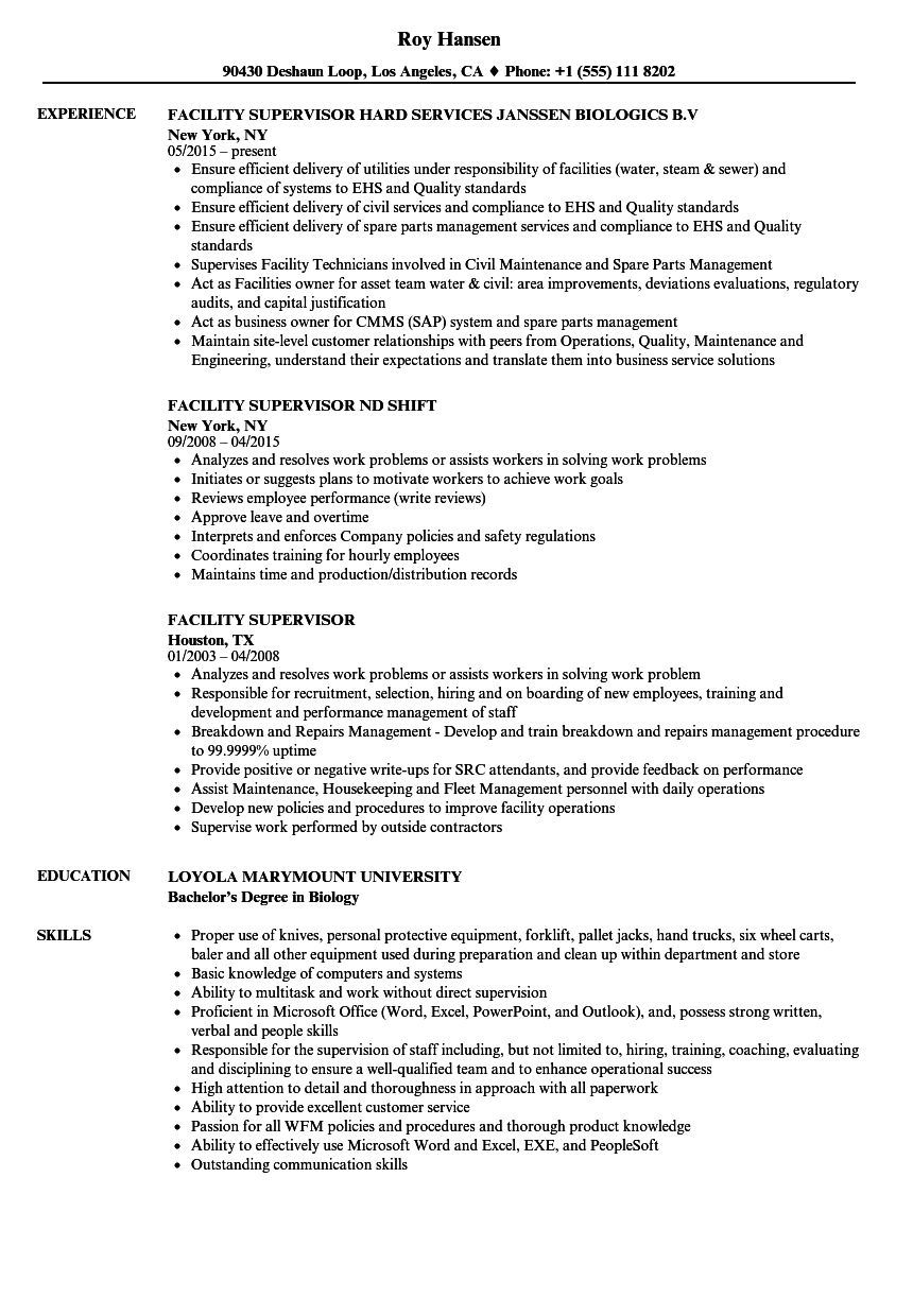 Facility Supervisor Resume Samples | Velvet Jobs