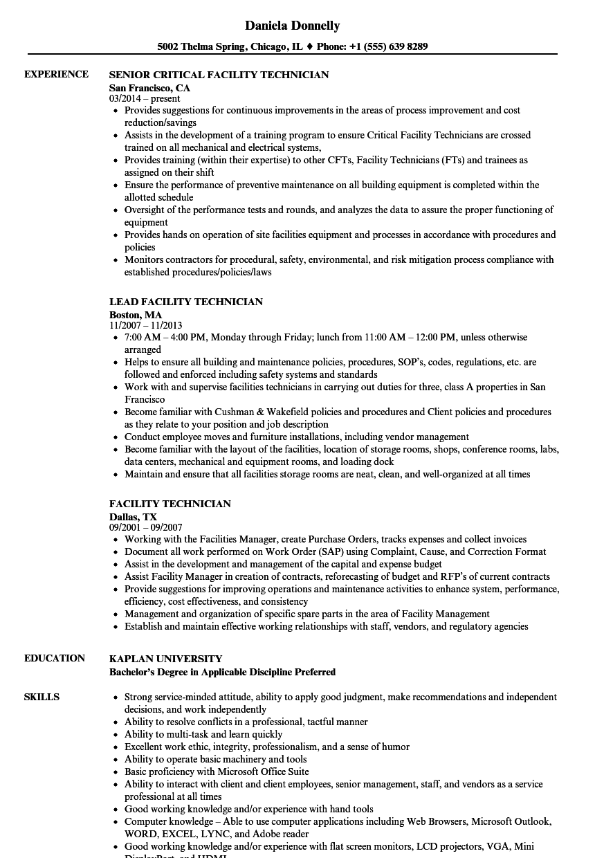 facility technician resume samples