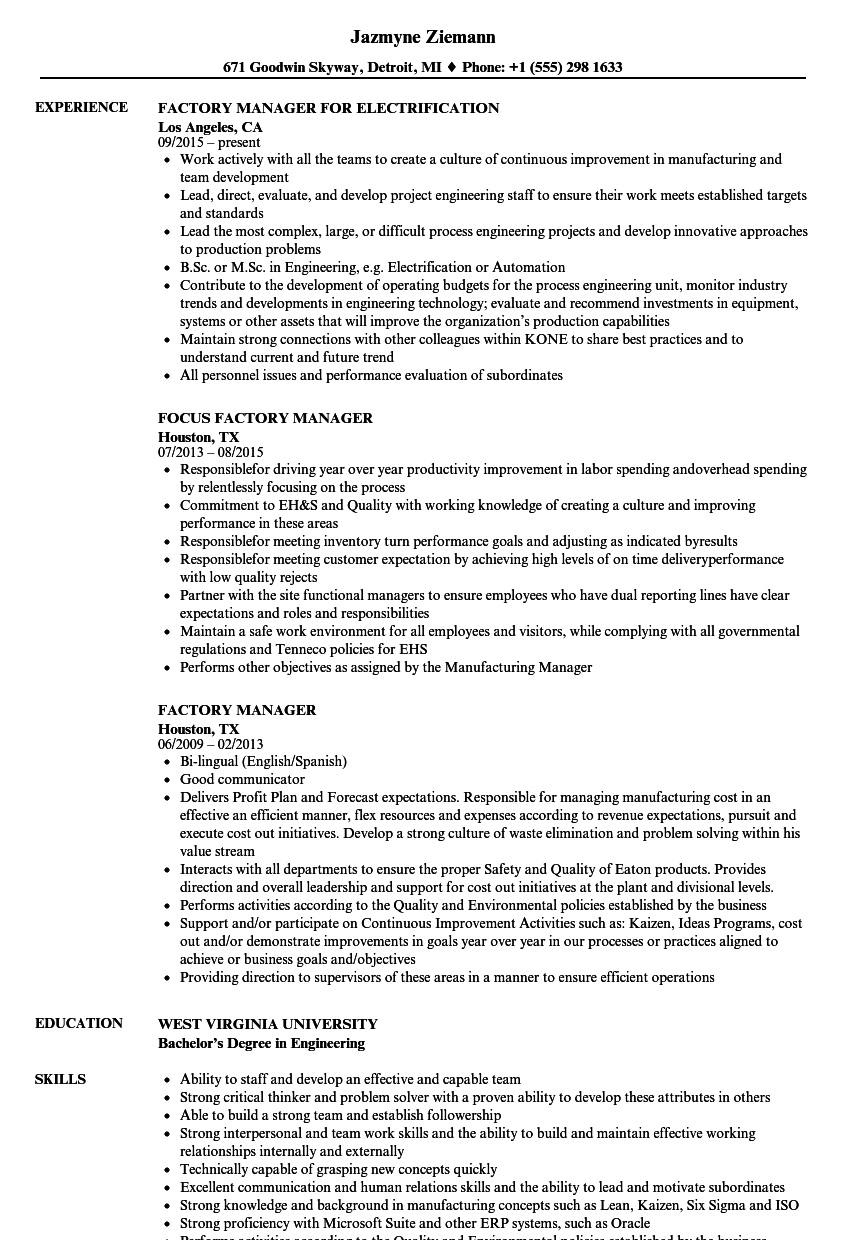 factory manager resume samples