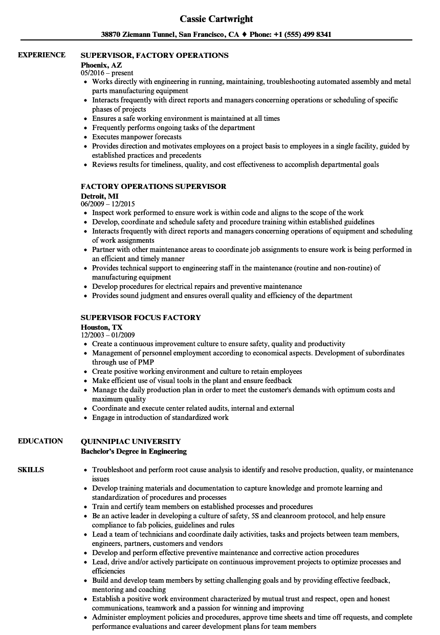 Factory Supervisor Resume Samples Velvet Jobs