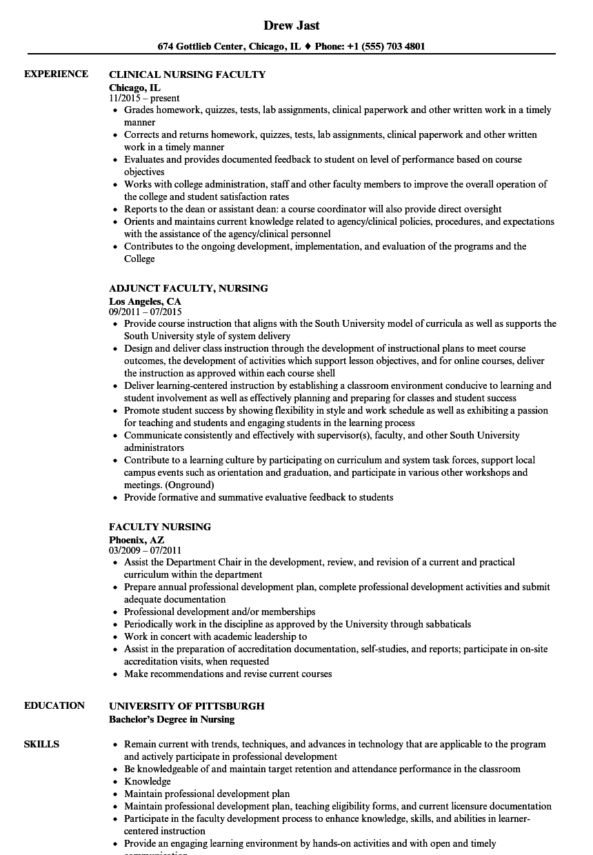 faculty nursing resume samples