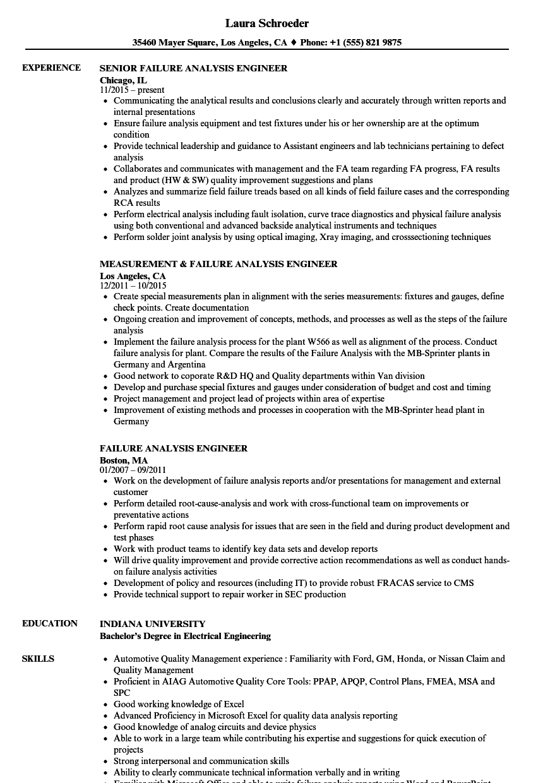failure analysis engineer resume samples