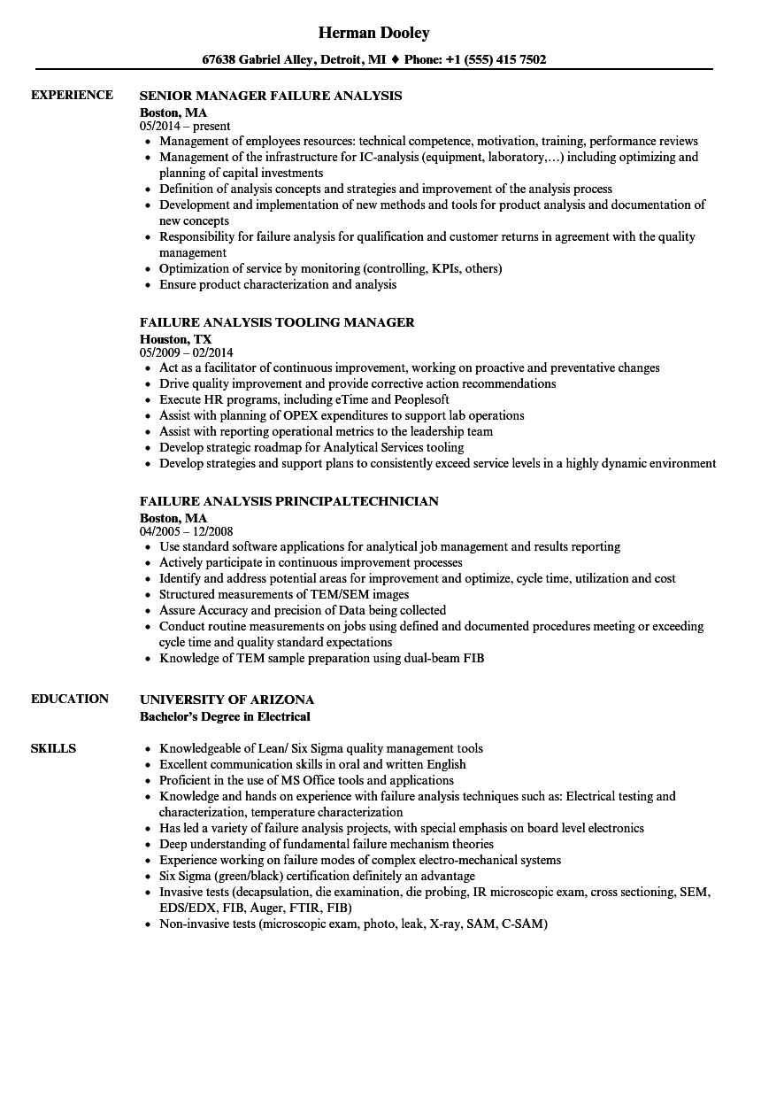 failure analysis resume samples