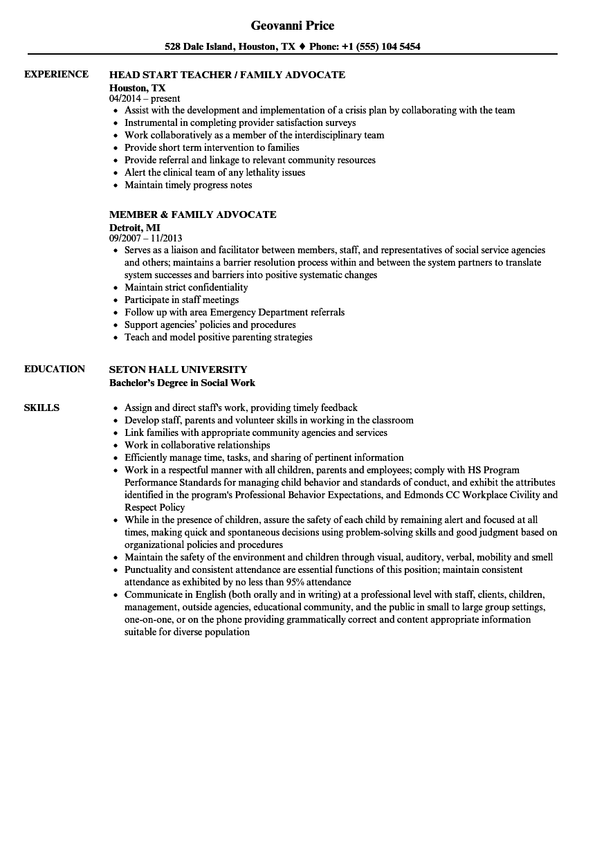 Family Advocate Resume Samples Velvet Jobs
