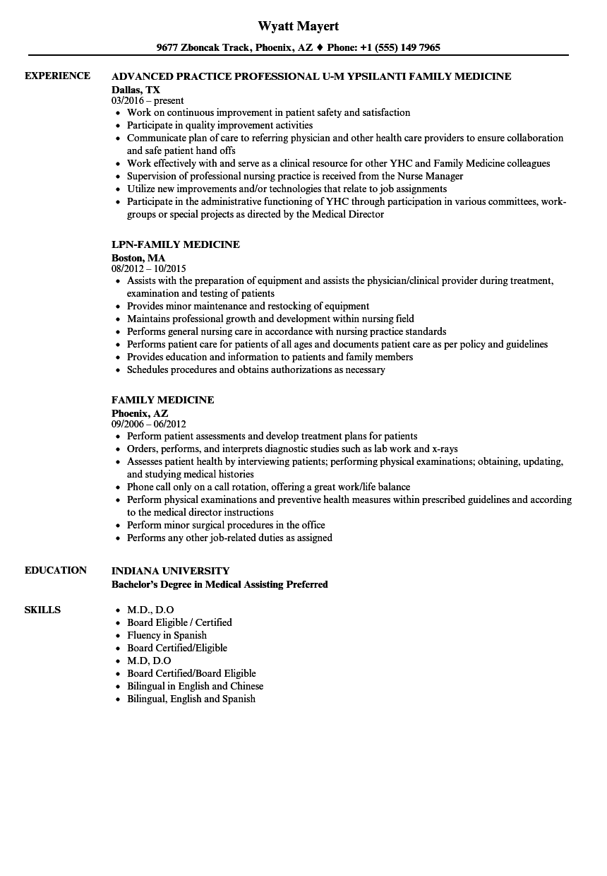 Family Medicine Resume Samples Velvet Jobs