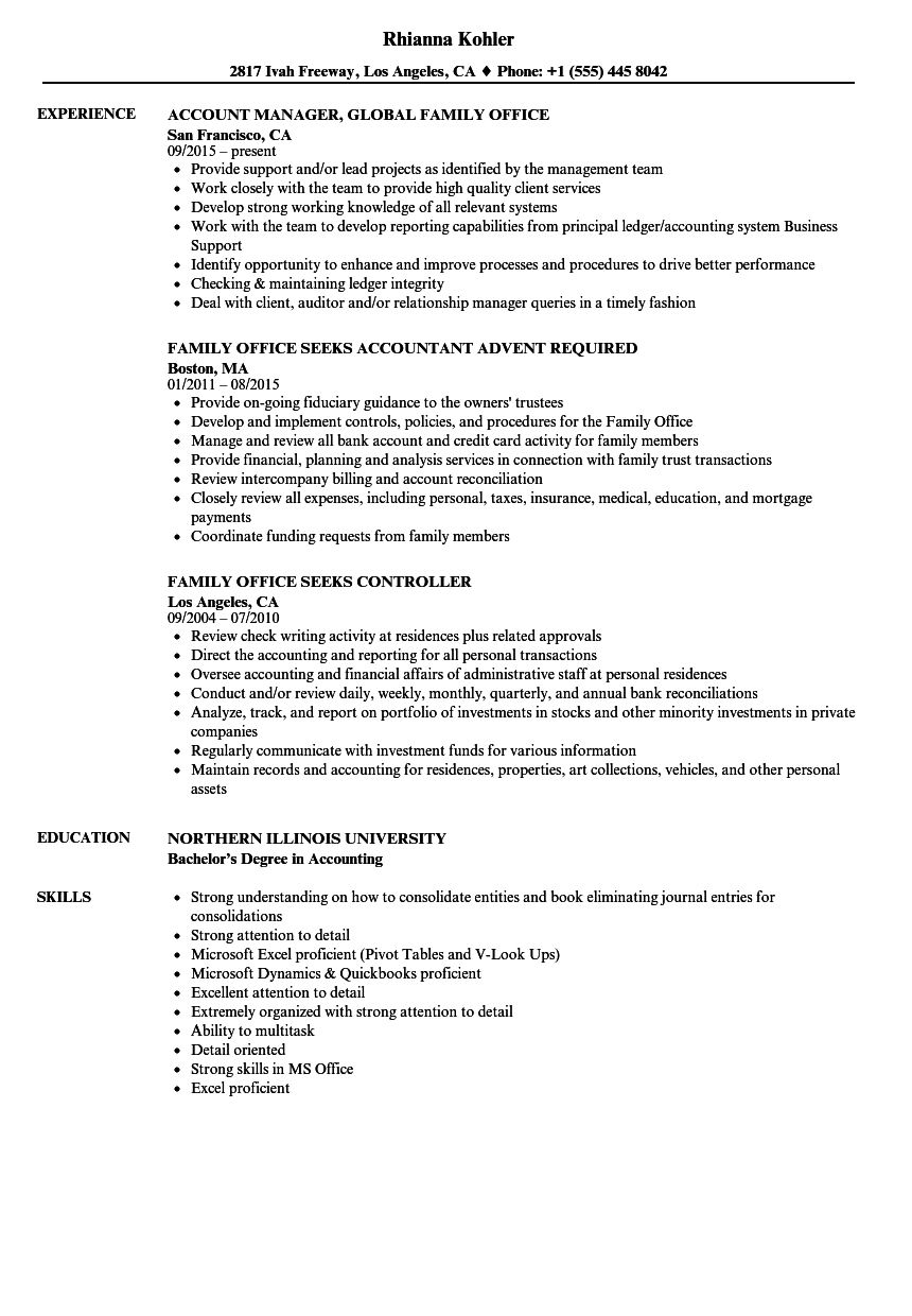 Family Office Resume Samples Velvet Jobs
