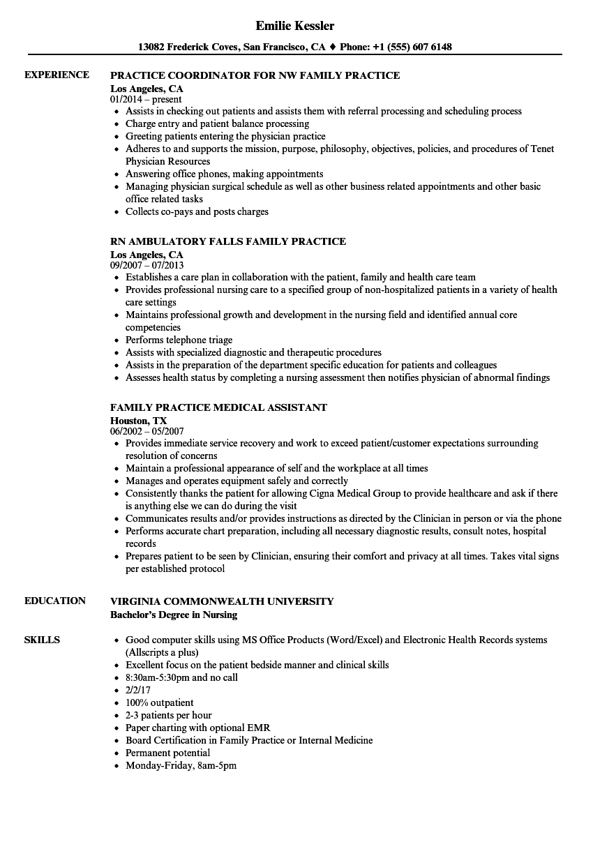family practice resume samples