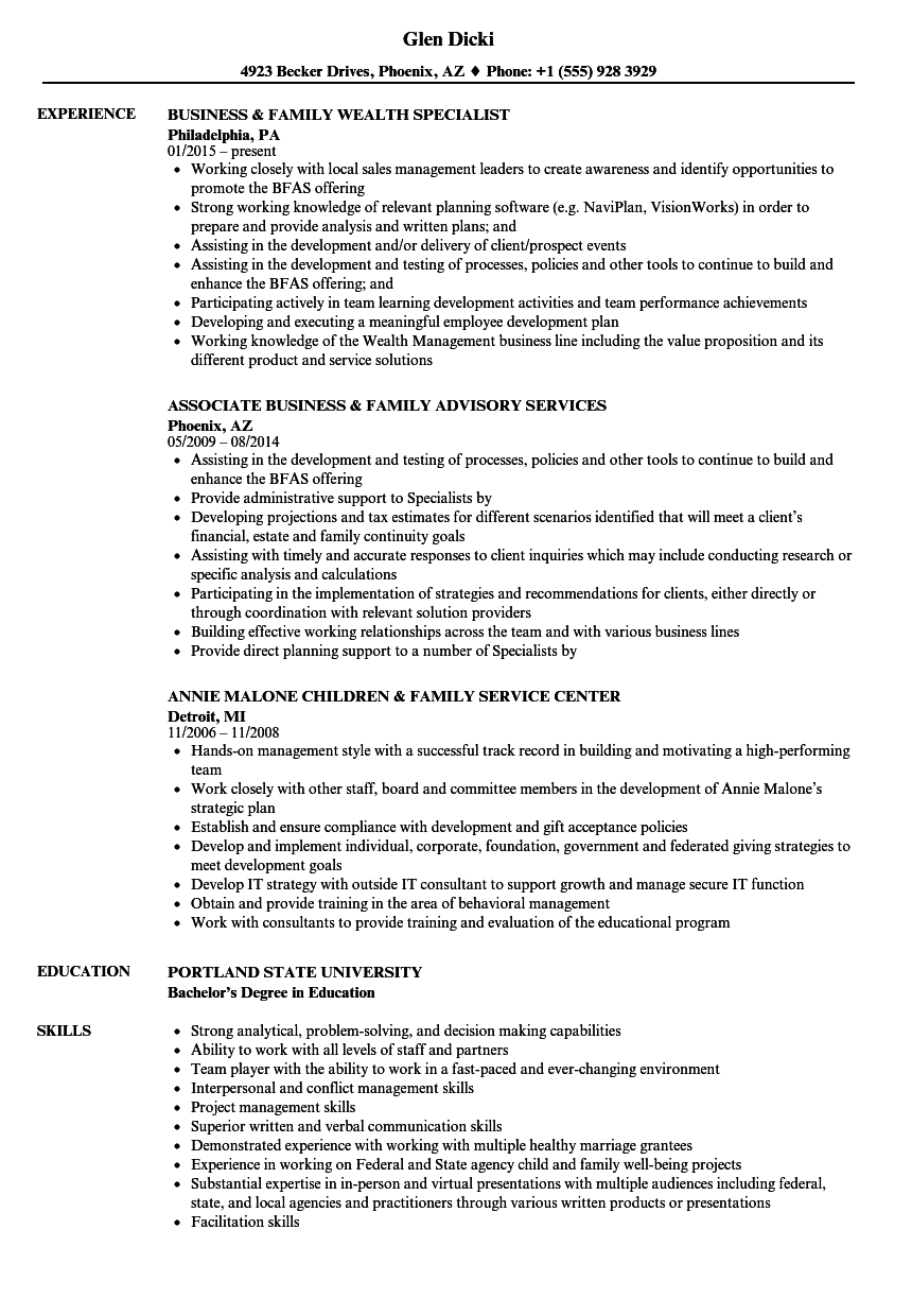 Family Resume Samples | Velvet Jobs