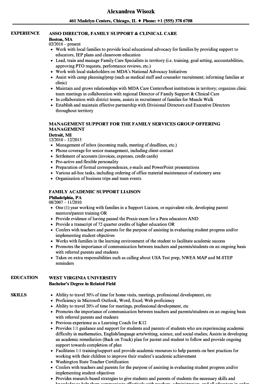 family support resume samples