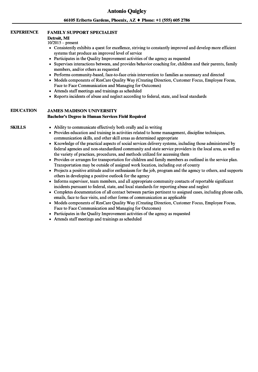 family support specialist resume samples velvet jobs