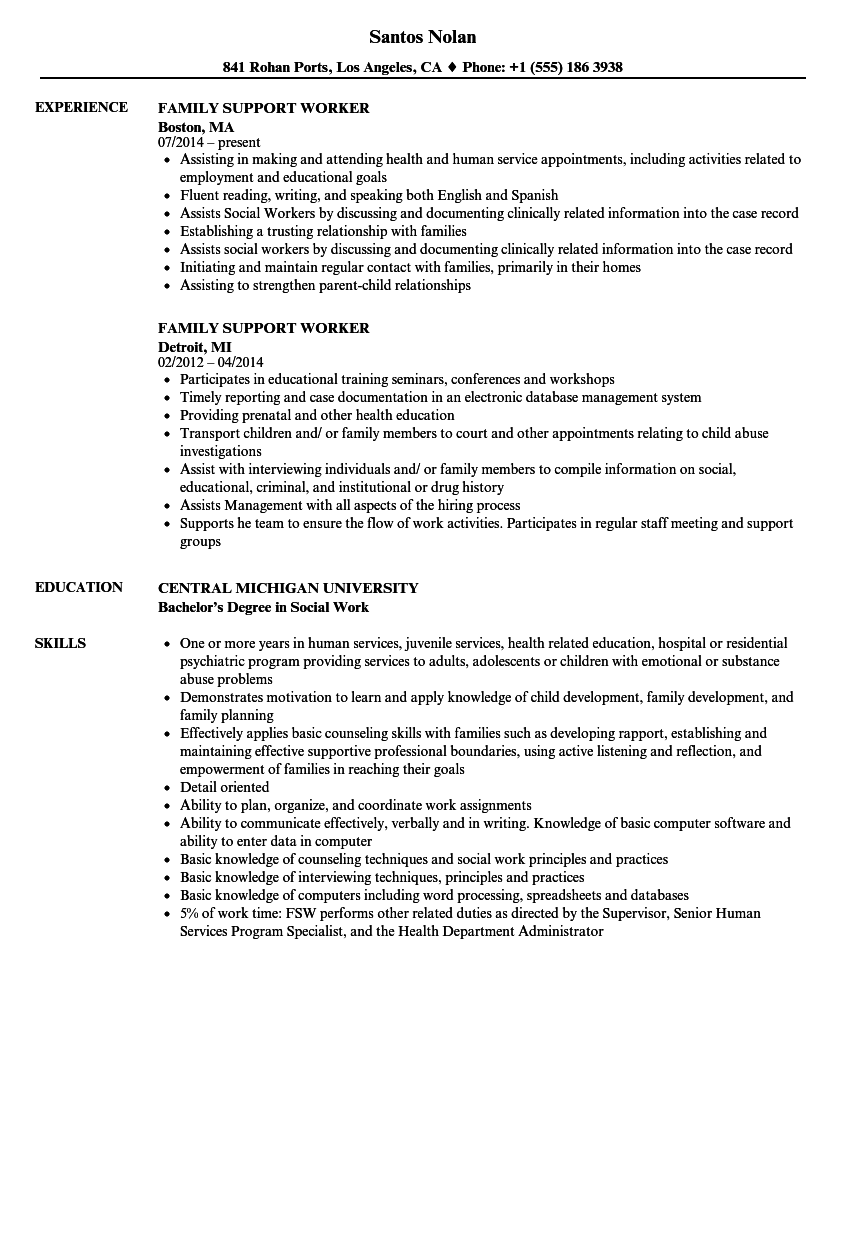 family support worker resume samples
