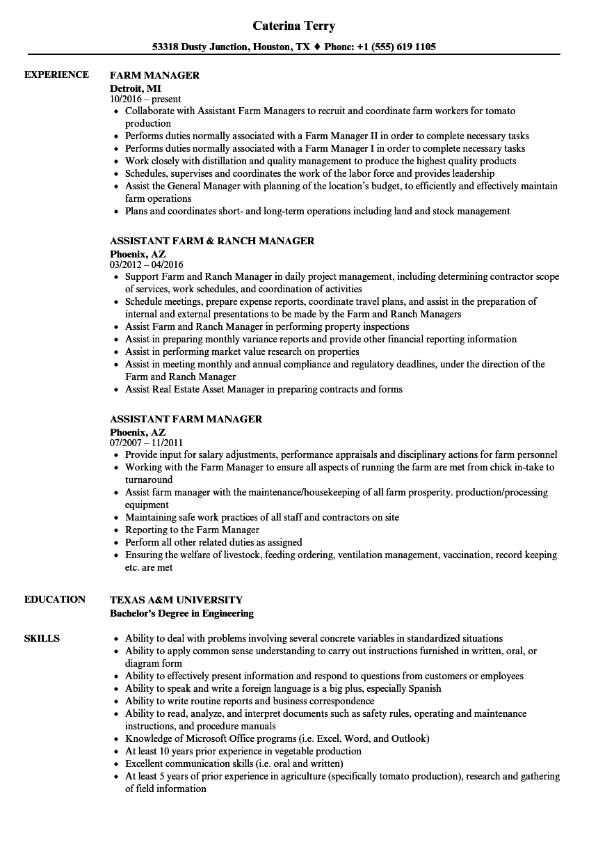 Farm Manager Resume Farm Manager Resume Samples  Velvet Jobs