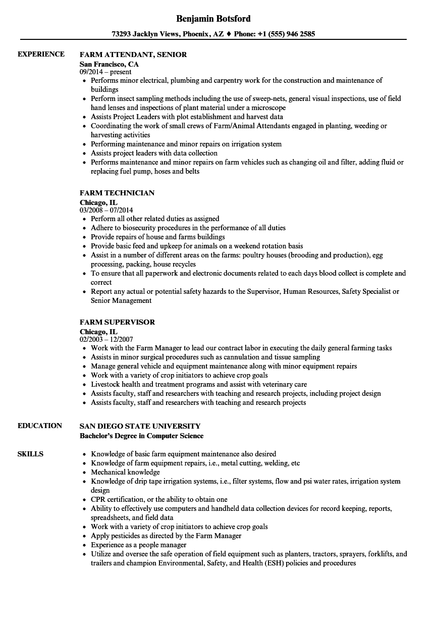 Farm Resume Samples | Velvet Jobs
