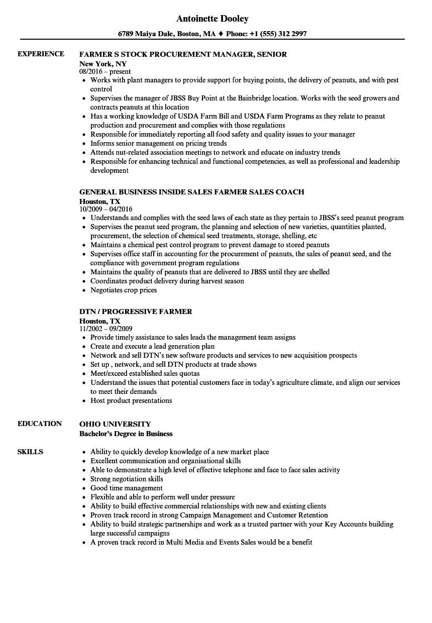Farmer Resume Samples Velvet Jobs