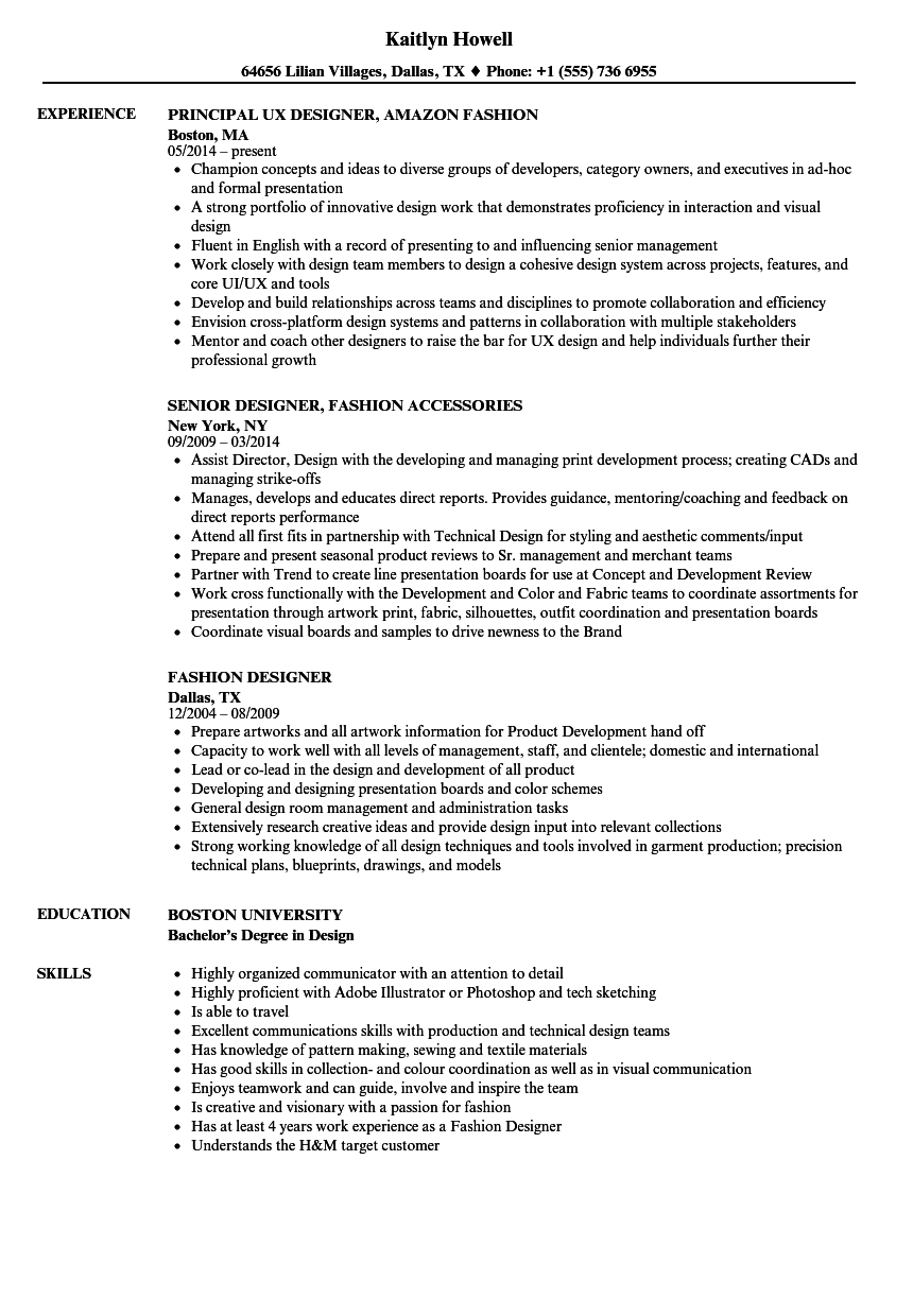 Fashion Designer Resume Samples | Velvet Jobs